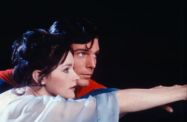 Christopher Reeve, as Superman, and Margot Kidder, as Lois Lane, in the 1978 movie