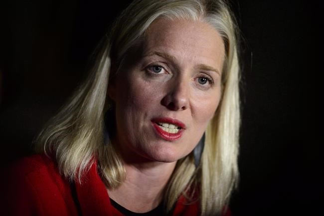 Minister of Environment and Climate Change Catherine McKenna holds a press conference to discuss the tabling of the fall 2018 reports of the Environment Commissioner on Parliament Hill, in Ottawa on Tuesday, Oct. 2, 2018. McKenna says the federal government plans to disburse money from a climate fund directly to Ontario institutions and business after the provincial government cancelled its climate program. THE CANADIAN PRESS/Sean Kilpatrick