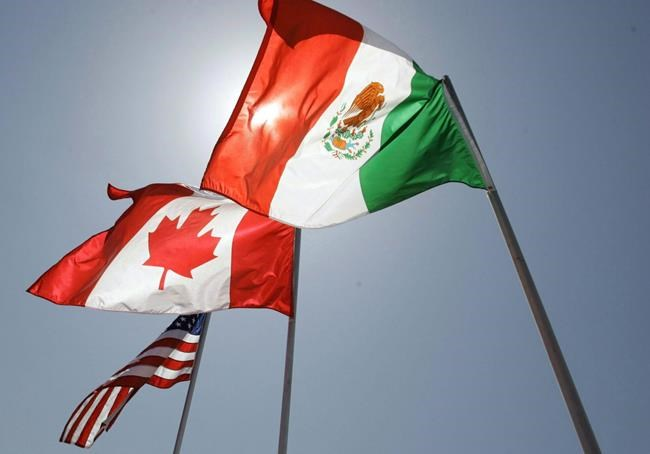 In this April 21, 2008 file photo, national flags of the United States, Canada, and Mexico fly in the breeze in New Orleans.THE CANADIAN PRESS/AP/Judi Bottoni