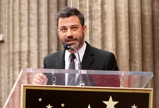 Comedian Jimmy Kimmel speaks during a ceremony honoring rapper Snoop Dogg with a star on the Hollywood Walk of Fame on Monday, Nov. 19, 2018, in Los Angeles. The picturesque Newfoundland community of Dildo is attracting unprecedented international attention over its name, as late night comedian Kimmel continues his televised quest to become its mayor. THE CANADIAN PRESS/AP-Photo by Willy Sanjuan/Invision/AP