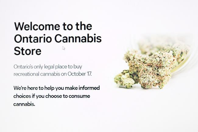 The home page for the Ontario Cannabis Store is shown in this photo illustration Toronto Wednesday October 17, 2018. Canada Post publicly admitted to a privacy breach involving thousands of Ontario's online cannabis customers on Wednesday after the province's only outlet for legal recreational marijuana notified clients of the problem. THE CANADIAN PRESS