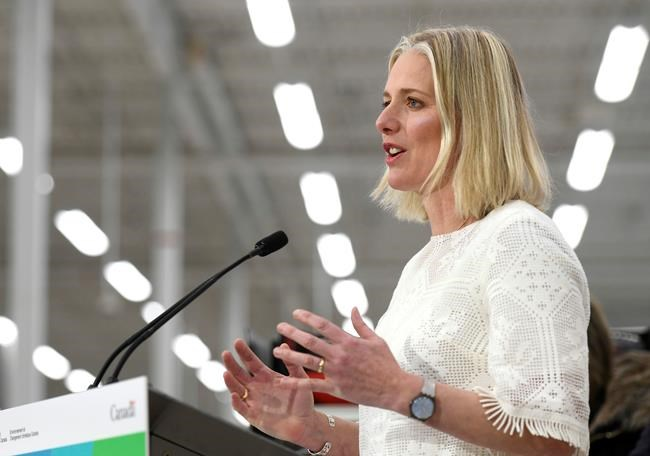 Minister of Environment and Climate Change Catherine McKenna speaks to reporters during a press conference on the Climate Action Incentive at a Canadian Tire store in Ottawa on Monday, March 4, 2019. Canada's greenhouse gas emissions edged up for the first time in three years in 2017, pushing the country even further away from its international climate change commitments. THE CANADIAN PRESS/Justin Tang