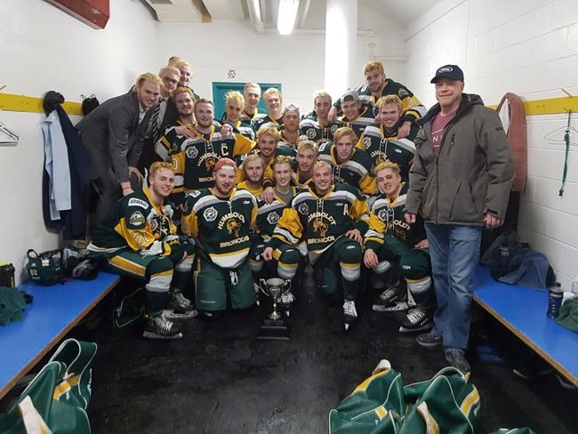 Members of the Humboldt Broncos junior hockey team are shown in a photo posted to the team Twitter feed, @HumboldtBroncos on March 24, 2018 after a playoff win over the Melfort Mustangs.THE CANADIAN PRESS/HO-Twitter-@HumboldtBroncos