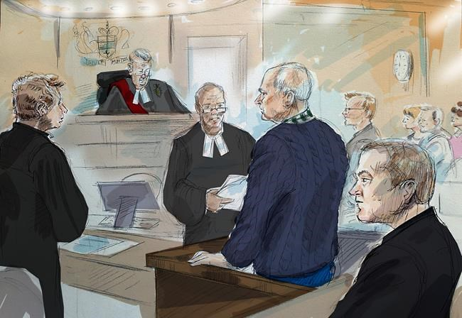 Defence lawyer James Miglin, left to right, Justice John McMahon, court registrar, Bruce McArthur, Crown Attorney Michael Cantlon, Detective Hank Idsinga, and friends and family of victims, back right, are shown in this court sketch in Toronto on Tuesday, January 29, 2019. THE CANADIAN PRESS/Alexandra Newbould