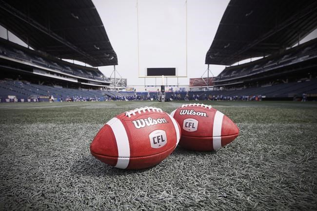 New CFL balls are photographed at the Winnipeg Blue Bombers stadium in Winnipeg Thursday, May 24, 2018. The CFL Players' Association has fired back at the league for instructing teams not to pay off-season bonuses to players until after a new collective bargaining agreement is ratified. THE CANADIAN PRESS/John Woods