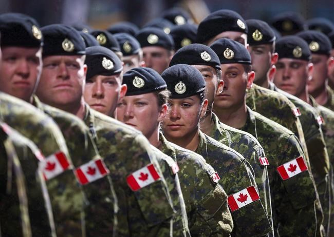Members of the Canadian Armed Forces march during the Calgary Stampede parade in Calgary, Friday, July 8, 2016. Canadian military members are being warned against getting certain tattoos, including those that are discriminatory or sexually explicit.THE CANADIAN PRESS/Jeff McIntosh