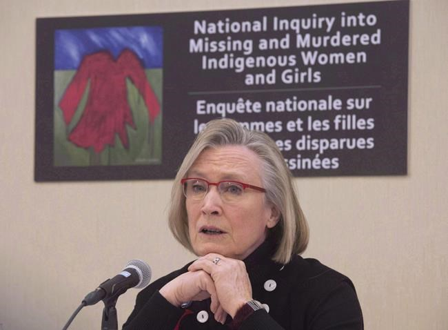 "Minister of Indigenous and Northern Affairs Carolyn Bennett speaks during a news conference on the Missing and Murdered Indigenous Women and Girls inquiry in Ottawa on February 15, 2016. The Native Women's Association of Canada says it is ""shocked"" and ""outraged"" to learn about the departure of the executive director of the inquiry into missing and murdered Indigenous women and girls. THE CANADIAN PRESS/Adrian Wyld"
