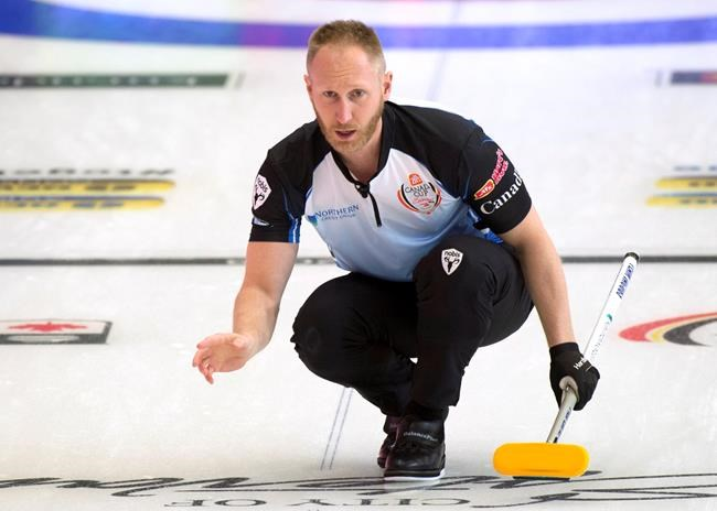 Skip Brad Jacobs of Sault Ste. Marie Ont. shouts to his sweepers during his win over Brad Gushue of St.John's N.L. at the Canada Cup in Estevan, Sask. on Wednesday, December 5, 2018. THE CANADIAN PRESS/HO, Michael Burns *MANDATORY CREDIT*