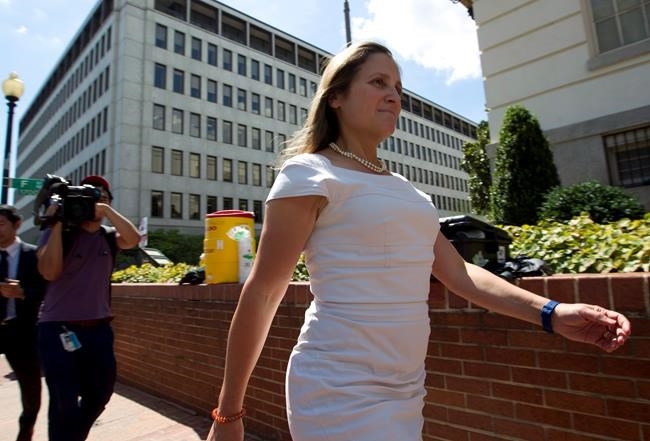 Canada is facing a fresh deadline to land a trade deal with the United States and save its place in the North American Free Trade Agreement. Canada's Foreign Affairs Minister Chrystia Freeland arrives for trade talks at the Office of the United States Trade Representative, in Washington, Friday, Aug. 31, 2018. THE CANADIAN PRESS/AP-Jose Luis Magana