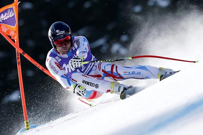 France's David Poisson competes during the men's downhill Alpine Ski World Cup race in Kvitfjell, Norway, Saturday, March 12, 2016. The French skiing federation says downhiller Poisson has died following a training crash in Canada. THE CANADIAN PRESS/AP/Gabriele Facciotti