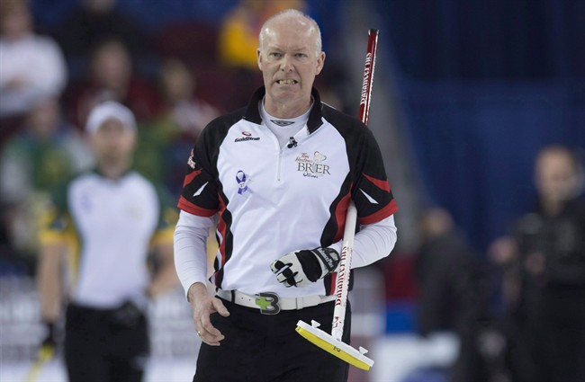 Team Ontario skip Glenn Howard reacts to a shot during round robin competition against Team Northern Ontario at the Brier curling championship Wednesday March 9, 2016 in Ottawa. Howard is adding some youth to his team for the upcoming curling season.THE CANADIAN PRESS/Adrian Wyld