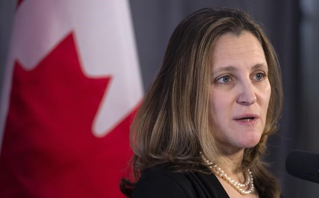 Foreign Affairs Minister Chrystia Freeland delivers a statement while entering a cabinet meeting in Sherbrooke, Que. on January 17, 2019. Canada has joined its major allies in firmly condemning Turkey's military incursion into northern Syria.THE CANADIAN PRESS/Paul Chiasson