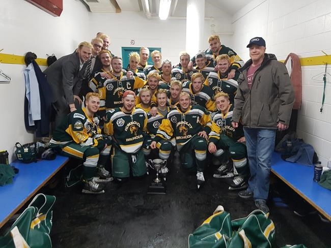 Members of the Humboldt Broncos junior hockey team are shown in a photo posted to the team Twitter feed, @HumboldtBroncos on March 24, 2018 after a playoff win over the Melfort Mustangs.