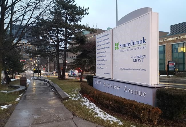 Sunnybrook Hospital is shown in Toronto on Sunday Jan. 26, 2020. A man in his 50s who travelled to Toronto from China earlier this week has become the first Canadian case of the new coronavirus, health officials said Saturday as they urged calm in the face of an international outbreak. THE CANADIAN PRESS/Doug Ives