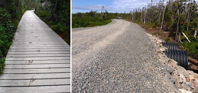 An upgraded trail (right) which replaced a boardwalk (left) in Gros Morne National Park is shown in a handout photo. Some local residents are objecting to a recent decision by Parks Canada to upgrade the trail by replacing an iconic boardwalk with a gravel path that is as wide as a two-lane road. As well, plants that used to flourish beside of the trail have also been pulled away. THE CANADIAN PRESS/HO-Michael Burzynski MANDATORY CREDIT