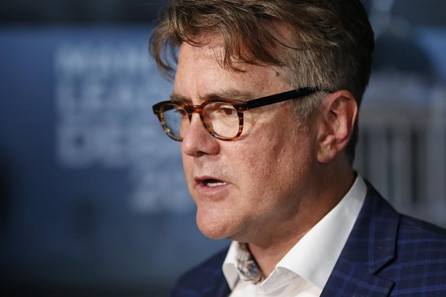 Liberal Party of Manitoba leader Dougald Lamont at a leaders' debate at CBC in Winnipeg, Wednesday, August 28, 2019. Manitoba Liberal Leader Dougald Lamont will have a bit of a cushion when party delegates vote on his future later this year. THE CANADIAN PRESS/John Woods