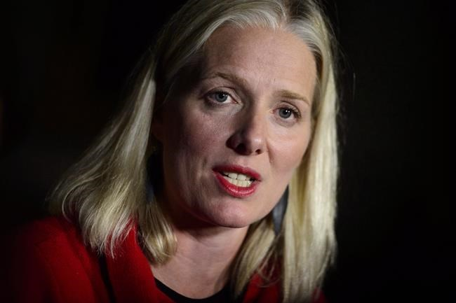 Minister of Environment and Climate Change, Catherine McKenna holds a press conference in Ottawa on Tuesday, Oct. 2, 2018. Federal officials say it is going to be no problem to add Manitoba to the growing list of provinces where Ottawa has to apply a carbon tax but Ottawa is still not ready to say exactly how it intends to give the revenues raised by the tax back to the Canadian people. THE CANADIAN PRESS/Sean Kilpatrick