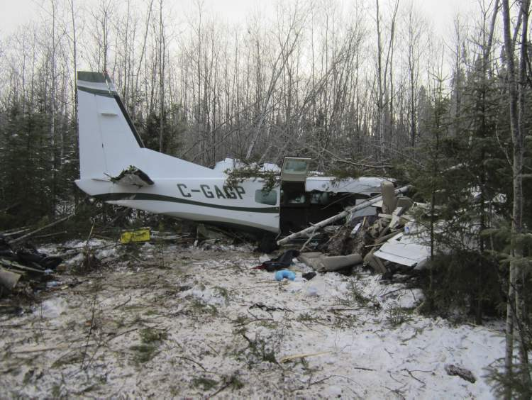 The crash site was east of the Town of Snow Lake, not far from the Snow Lake Airport.