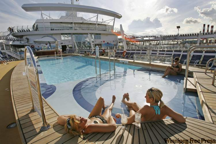 One of the pools on board the world's largest cruise ship, Royal Caribbean's Oasis of the Seas.