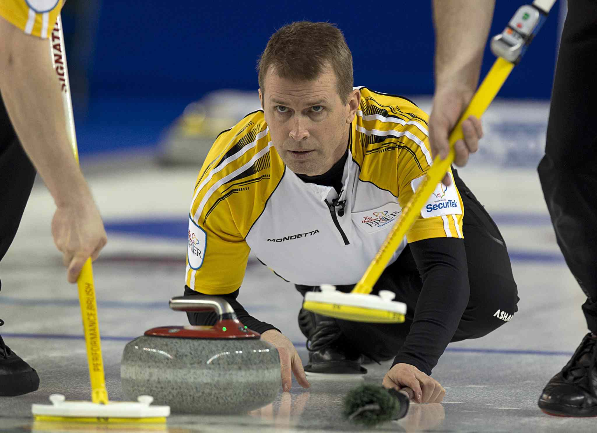 Manitoba skip Jeff Stoughton watches a rock as they play Nova Scotia at the Tim Hortons Brier in Kamloops, B.C. on Tuesday, March 4, 2014.