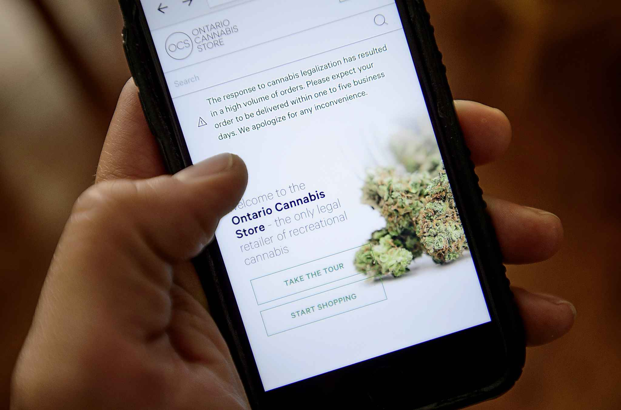 A Ontario Cannabis Store website pictured on a mobile phone Ottawa on Thursday, Oct. 18, 2018. THE CANADIAN PRESS/Sean Kilpatrick