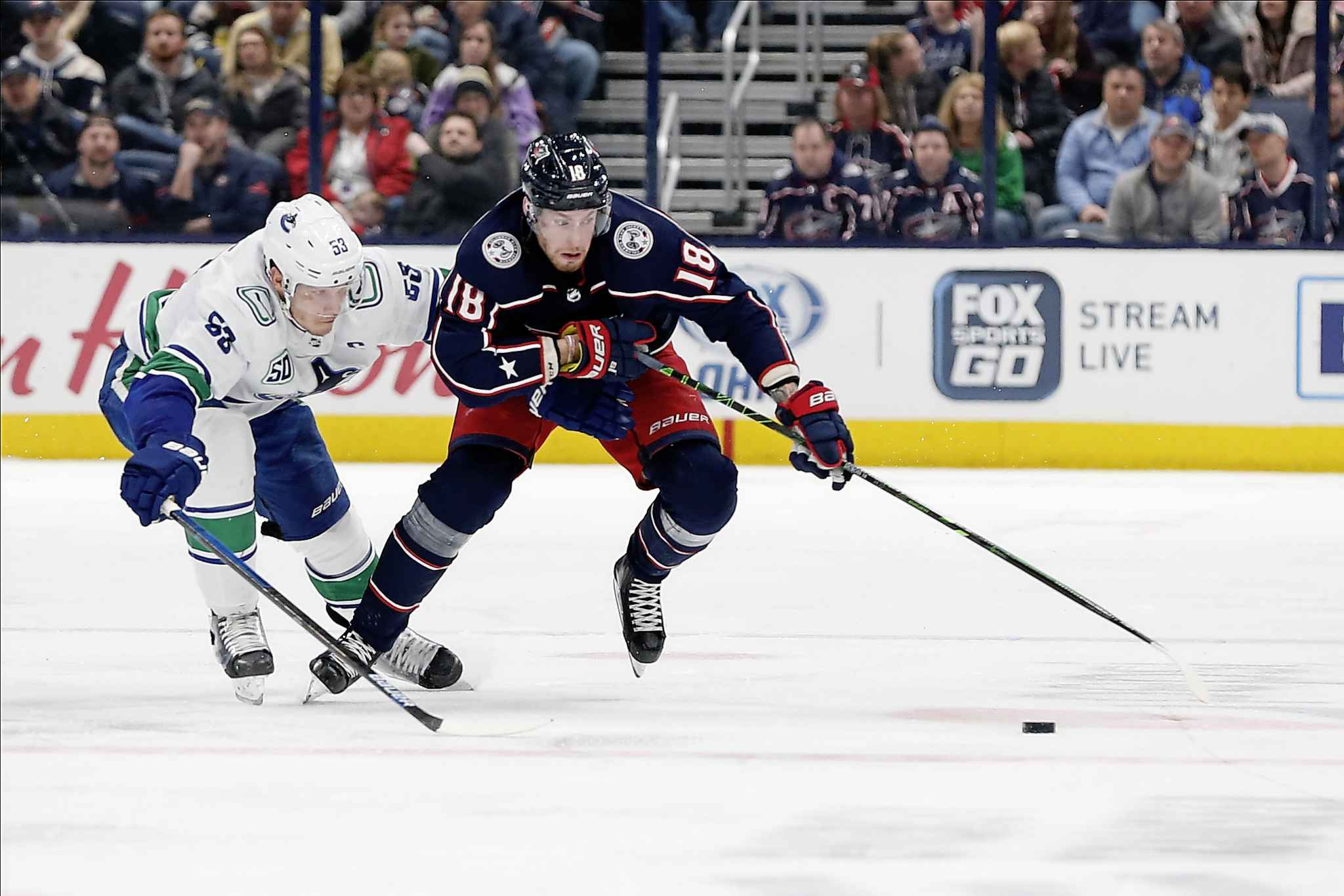 Pierre-Luc Dubois is considered a true power forward, and his father, Eric, is an assistant coach with the Manitoba Moose. (Jay LaPrete / The Associated Press files)