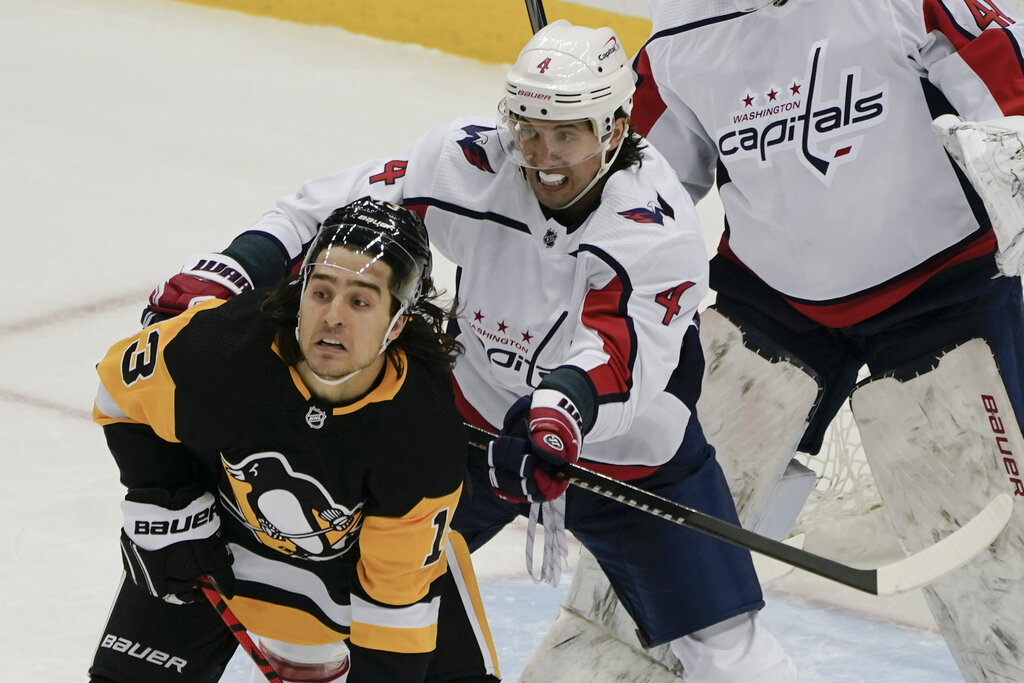 The Jets traded two second-round draft picks to Washington for defenceman Brenden Dillon (centre) (Keith Srakocic / The Associated Press files)