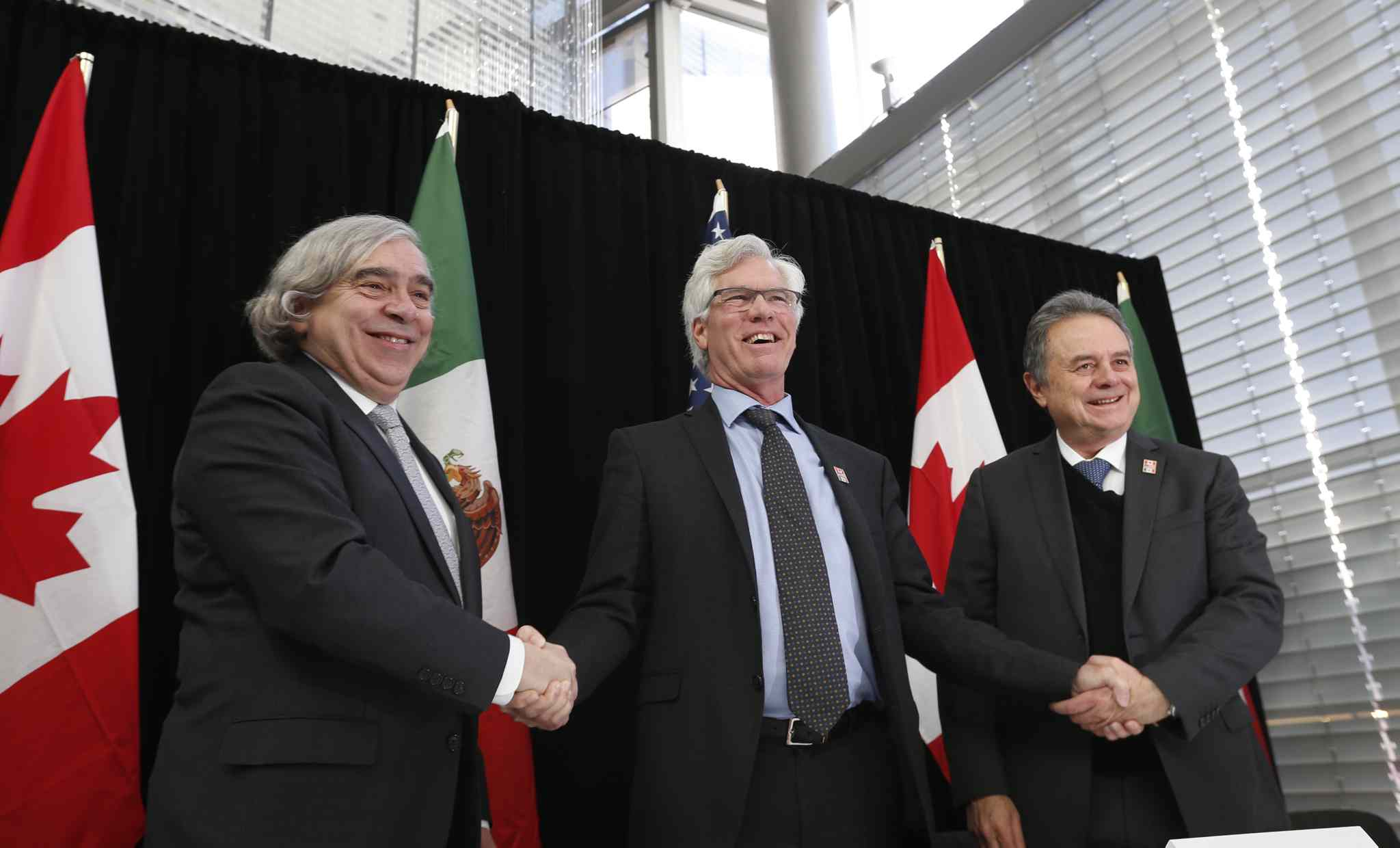 Jim Carr, Canada's Minister of Natural Resources (centre), with  Mexico's Secretary of Energy Pedro Joaquín Coldwell (right) and the United States Secretary of Energy, Dr. Ernest Moniz in Winnipeg for a North American Energy Ministers Meeting.