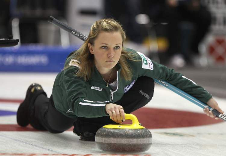 Skip Chelsea Carey throws during play Thursday afternoon against team Kim Link at the 2012 Scotties Tournament of Hearts in Portage la Prairie on Thursday.
