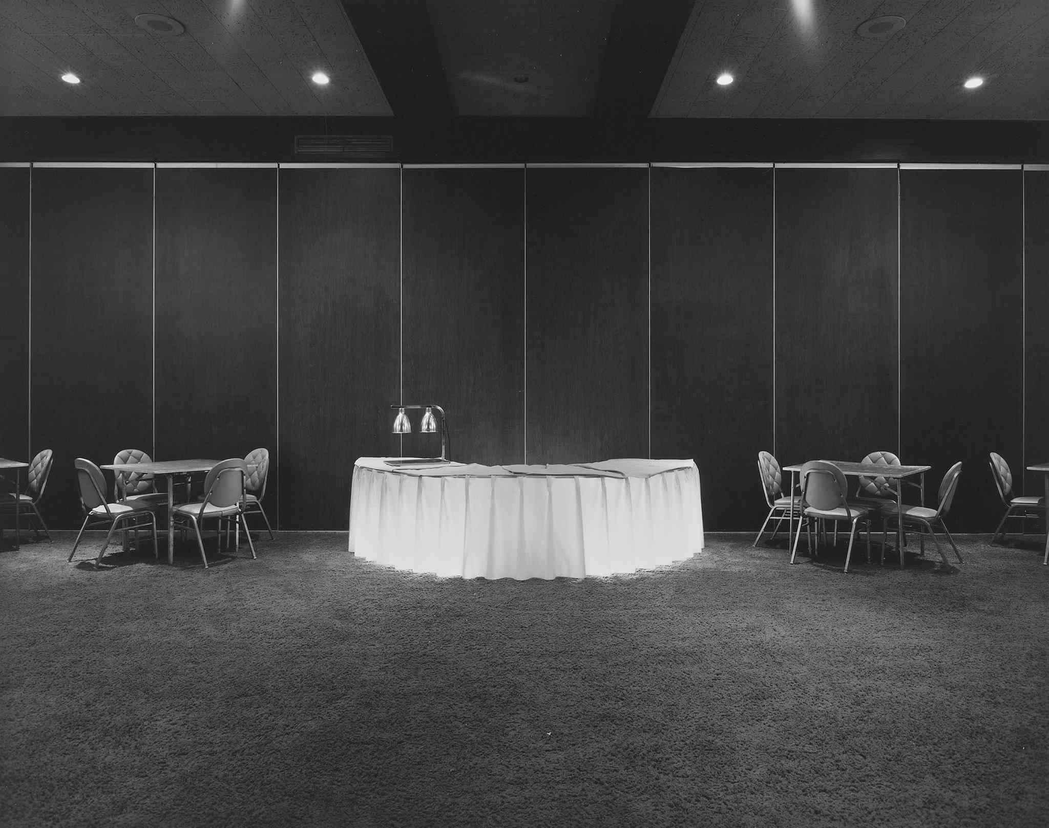 Lynne Cohen, Banquet hall, Howard Johnson's, Atlantic City, New Jersey, 1976 (printed 1986), gelatin silver print, 18.9 x 24 cm. National Gallery of Canada, Ottawa