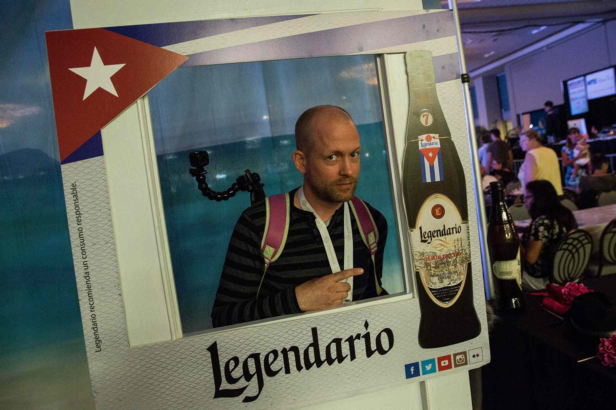 MIKE DEAL / WINNIPEG FREE PRESS </p><P>Ben MacPhee-Sigurdson in the Legendario photo booth at the Cuba pavilion.