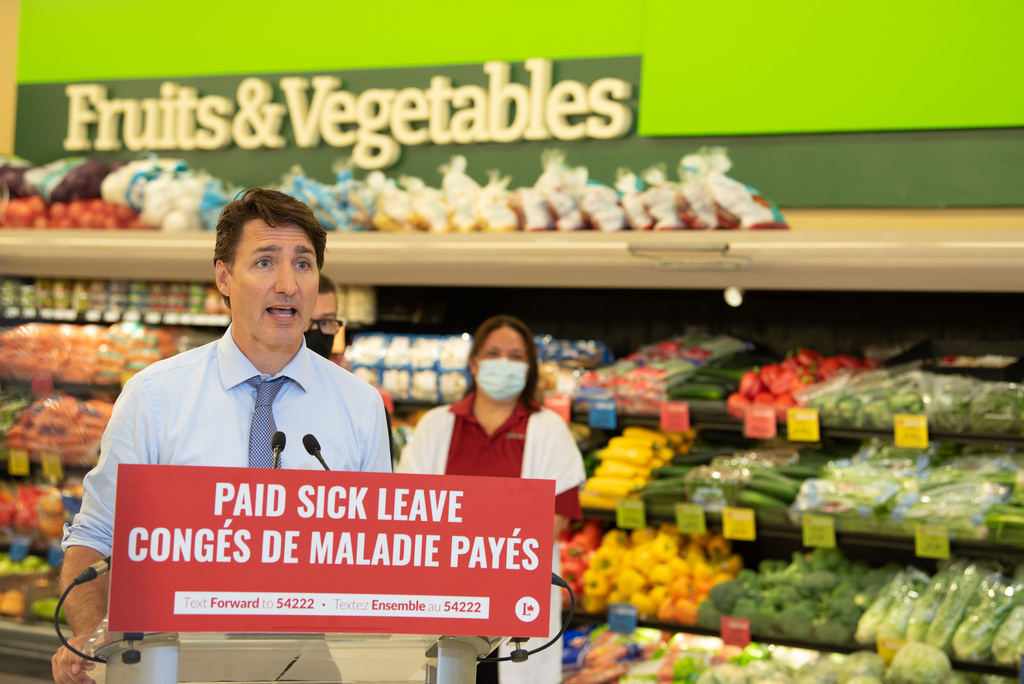 Prime Minister Justin Trudeau speaks at a FoodFare store in Winnipeg on Friday.