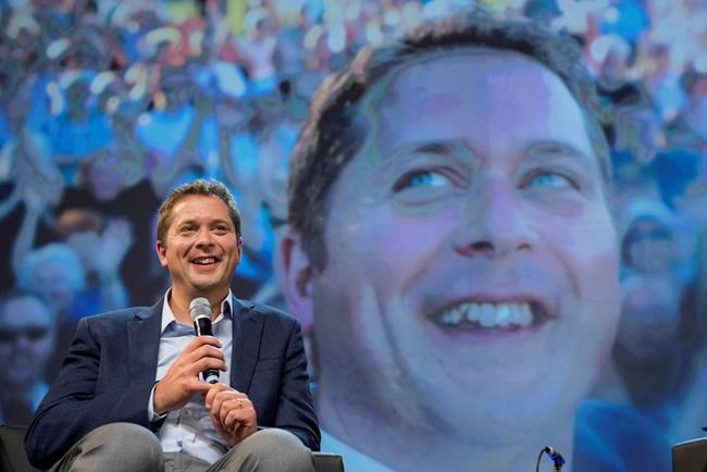 Conservative Leader Andrew Scheer is seen on stage while speaking to delegates at the Conservative national convention in Halifax on Saturday, August 25, 2018. THE CANADIAN PRESS/Darren Calabrese