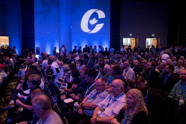 Supporters attend the opening ceremony of the Conservative national convention in Halifax on Thursday, August 23, 2018. THE CANADIAN PRESS/Darren Calabrese