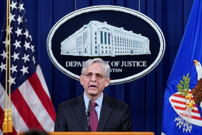 Attorney General Merrick Garland speaks about a jury's verdict in the case against former Minneapolis Police Officer Derek Chauvin in the death of George Floyd, at the Department of Justice, Wednesday, April 21, 2021 in Washington. (AP Photo/Andrew Harnik, Pool)