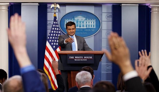 White House principal deputy press secretary Raj Shah takes questions during the daily news briefing at the White House, in Washington, Monday, March 26, 2018.(AP Photo/Carolyn Kaster)