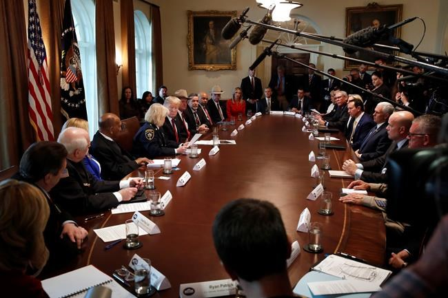 President Donald Trump, center left, leads a roundtable discussion on border security with local leaders, Friday Jan. 11, 2019, in the Cabinet Room of the White House in Washington. (AP Photo/Jacquelyn Martin)