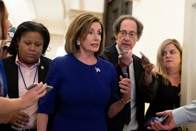 Speaker of the House Nancy Pelosi D-Calif. departs the Capitol en route to a speaking event in Washington Tuesday Sept. 24 2019. Pelosi will meet with her caucus later as more House Democrats are urging an impeachment inquiry amid reports that Presid