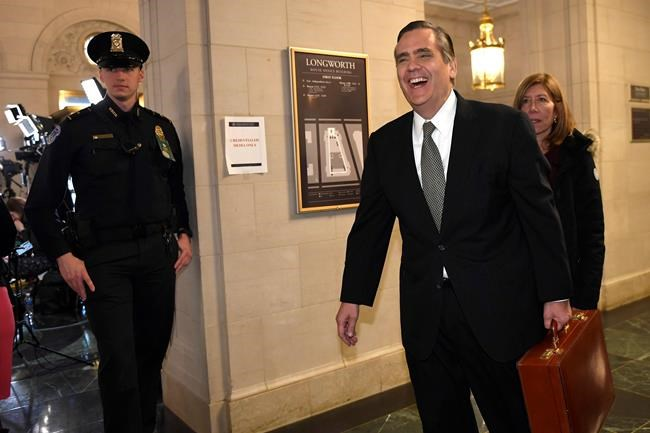 Constitutional law expert and George Washington University Law School professor Jonathan Turley arrives to testify before a House Judiciary Committee hearing on Capitol Hill in Washington, Wednesday, Dec. 4, 2019, on the on the constitutional grounds for the impeachment of President Donald Trump. (AP Photo/Susan Walsh)