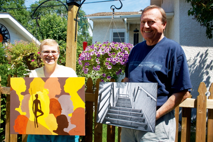 Elmwood residents Elizabeth Delgatty and Bob Ludwick show off artwork that will be on display at Selkirk's Gwen Fox Gallery from July 30 to Aug. 24.