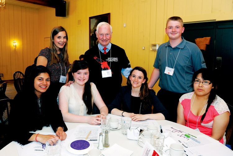 Transcona Collegiate Institute Grade 12 student Tyler Davis (back row right) is shown with Governor General David Johnston at a roundtable discussion on June 5.