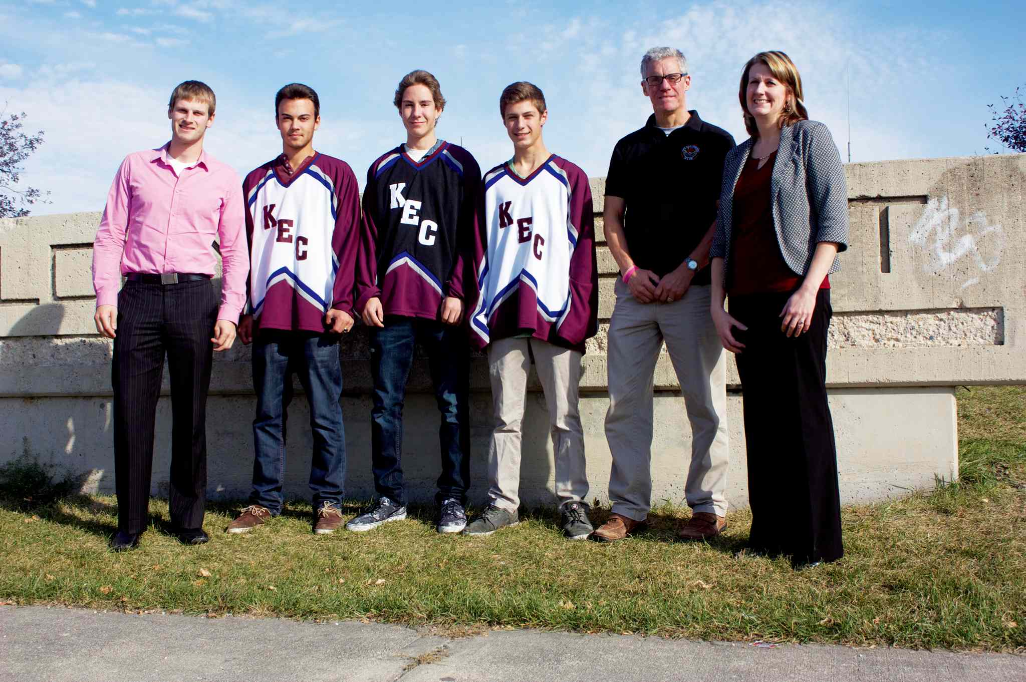 Kildonan-East Reivers coach Luke Klassen, players Keenan Young, Braden Turman, Breydon Bromley, coach David Ramsay, and vice-principal Darlene Martineau are looking forward to icing a Winnipeg High School Hockey League team this season.