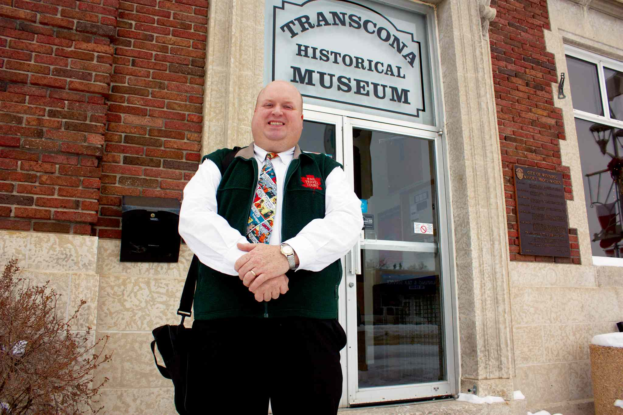 Daryl Adair of Rail Travel Tours is shown outside the Transcona Historical Museum.