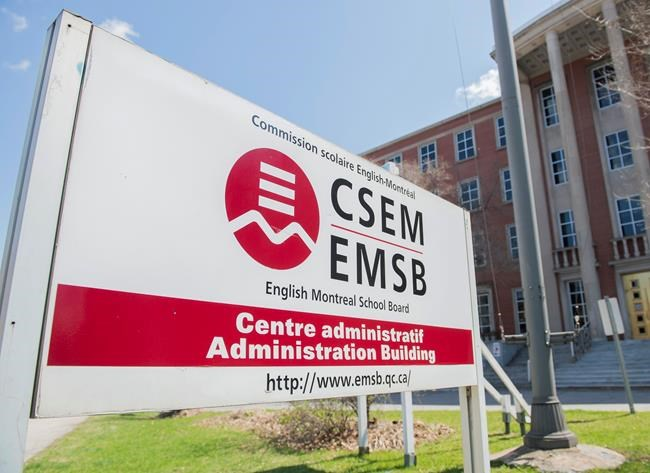 A sign for the English Montreal School Board (EMSB) is shown in Montreal, Sunday, May 3, 2020. THE CANADIAN PRESS/Graham Hughes