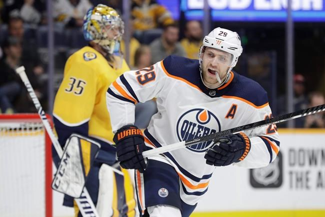 Edmonton Oilers center Leon Draisaitl (29), of Germany, plays against the Nashville Predators in the first period of an NHL hockey game Monday, March 2, 2020, in Nashville, Tenn. Draisaitl scored four goals as the Oilers won 8-3. Draisaitl was named winner of the Art Ross Trophy the NHL announced Thursday. THE CANADIAN PRESS/AP-Mark Humphrey