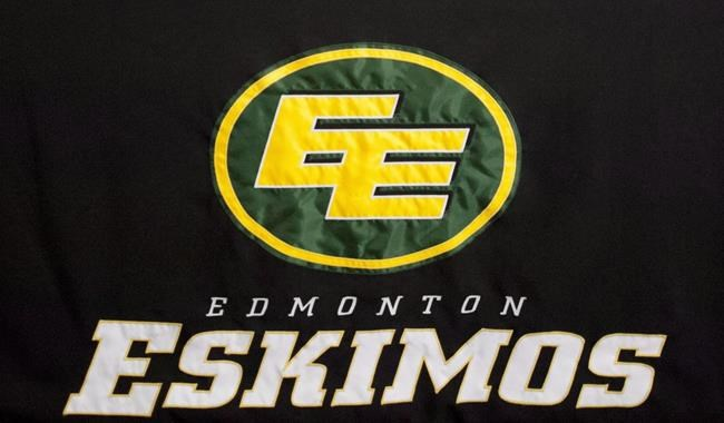 """Edmonton Eskimos logo is pictured on November 3, 2012. At least one of the Edmonton Eskimos' sponsors plans to cut ties with the Canadian Football League team unless it changes its name, while other corporate partners say they are watching closely for results from the team's """"ongoing engagement"""" with Inuit communities. THE CANADIAN PRESS/John Ulan"""