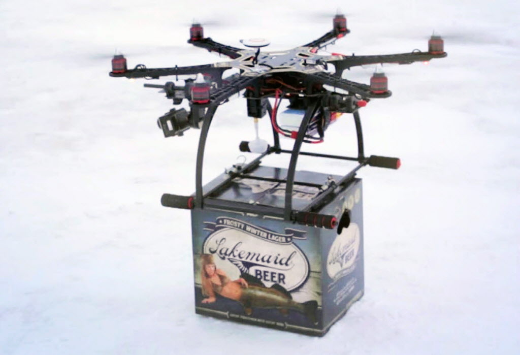 A mini-drone lands with a 12-pack of beer for thirsty ice-fishing anglers on Minnesota's Lake Mille Lacs.