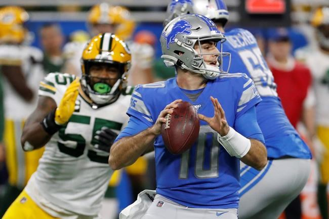 Detroit Lions quarterback David Blough throws during the first half of an NFL football game against the Green Bay Packers, Sunday, Dec. 29, 2019, in Detroit. (AP Photo/Rick Osentoski)