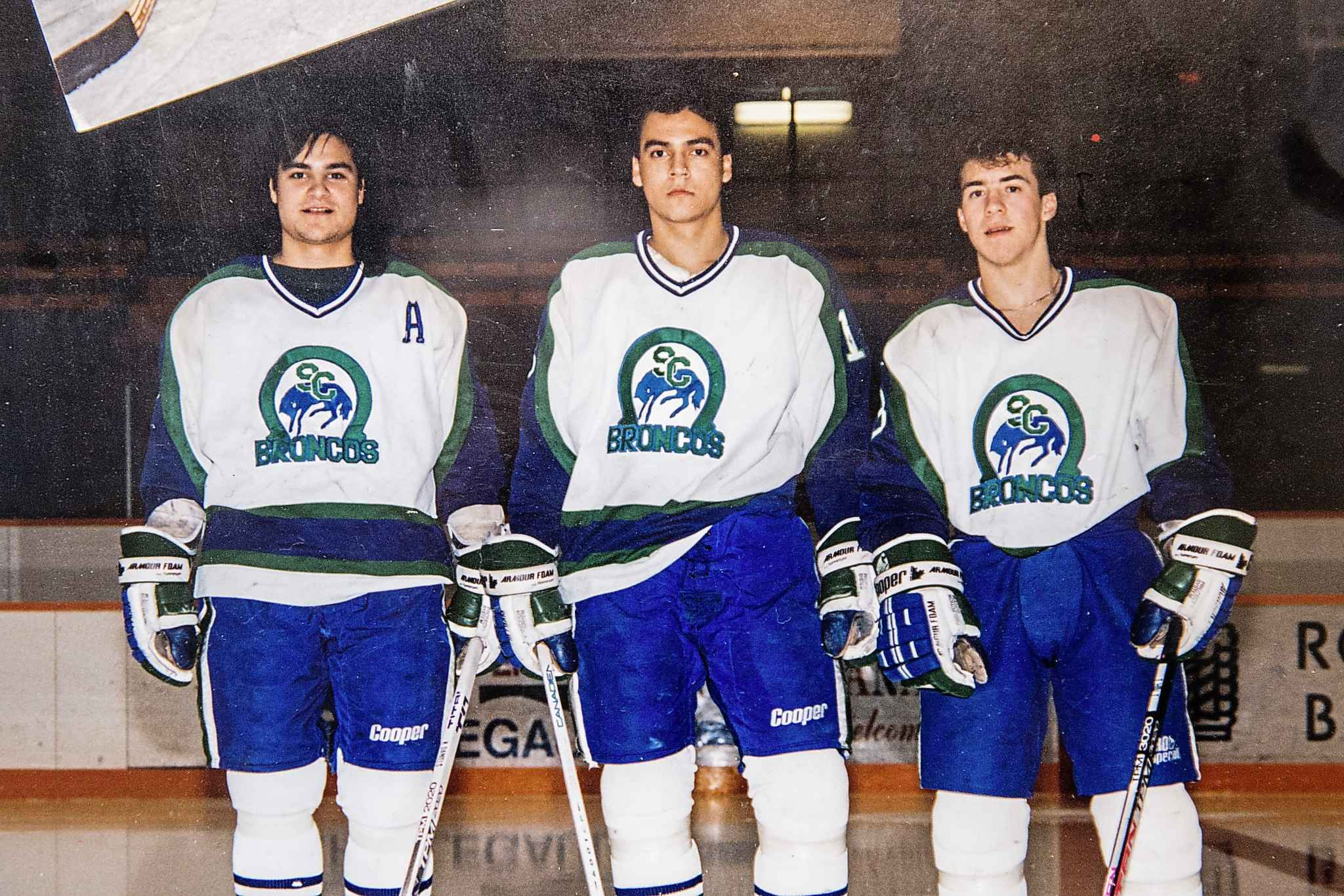 Kimbi Daniels (from left) Lloyd Pelletier and Todd Holt played together on the 1990-91 Broncos. (Supplied)