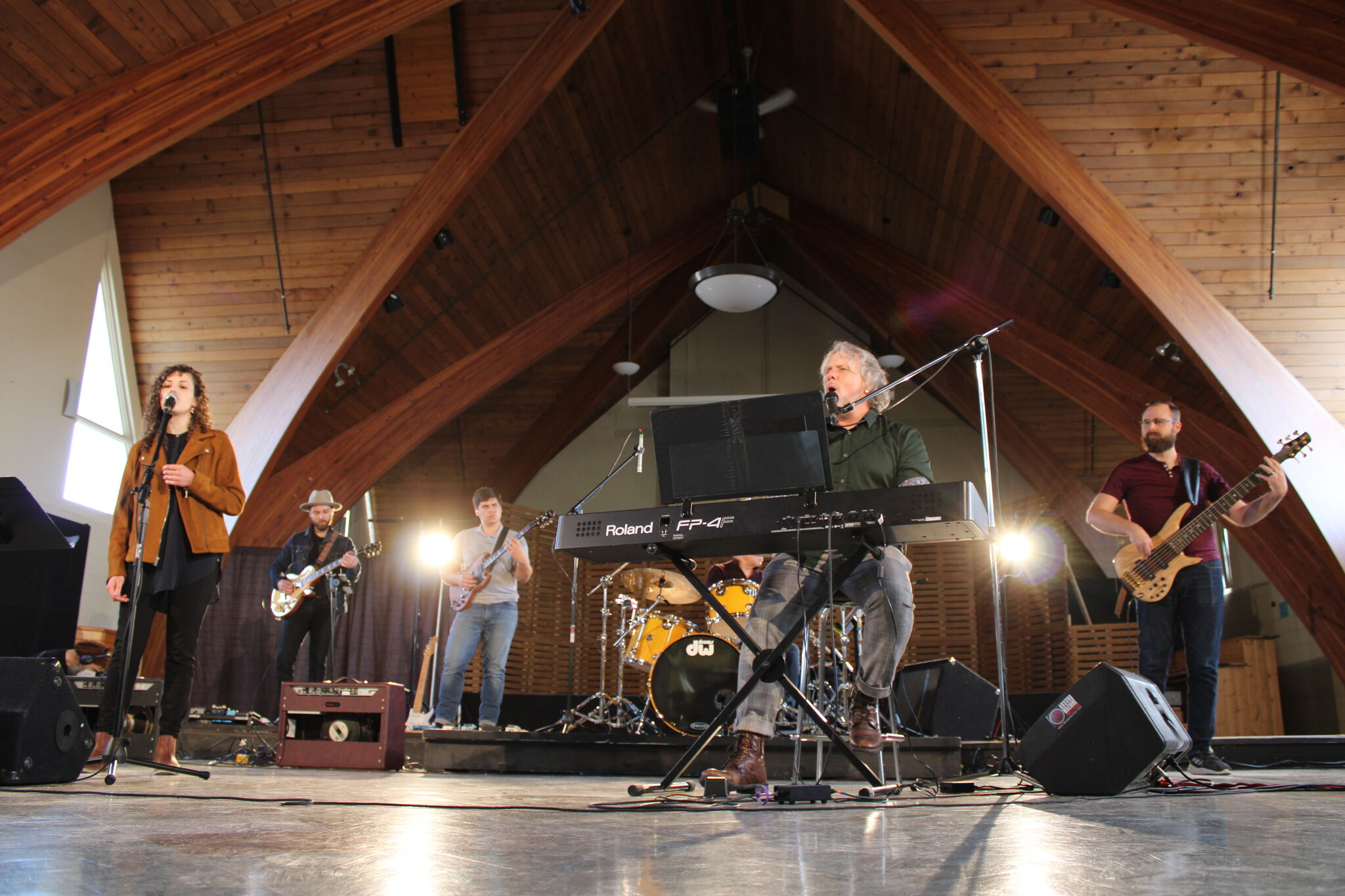 Danny Plett and other musicians recorded music Saturday at the Mennonite Heritage Village auditorium for the April 5 concert.